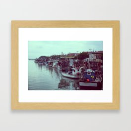 Boats in the blue lagoon Framed Art Print