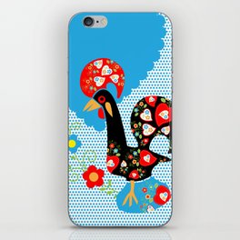 Portuguese Rooster of Luck with blue dots iPhone Skin