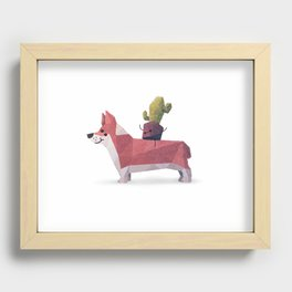 Cactus on Corgie Recessed Framed Print