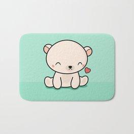 Kawaii Cute Polar Bear With Heart Bath Mat