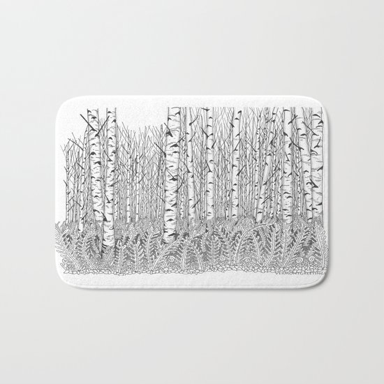 Birch Trees Black and White Illustration Bath Mat