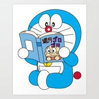 doraemon Art Prints featuring Doraemon Reading Comic Book by Timeless-Id