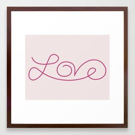 Love calligraphy print - pale pink background with deep pink  Framed Art Print