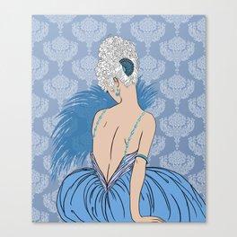 Art Deco Lady with Damask - BIANCA: Blue Monday Canvas Print