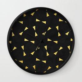 black & gold minimal pattern Wall Clock