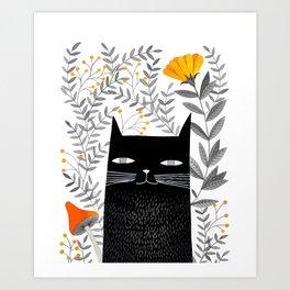 black cat with botanical illustration Art Print