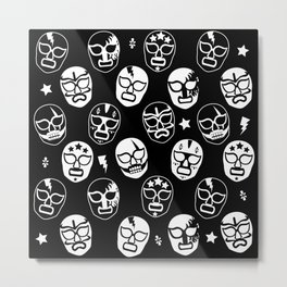 Máscaras (Black & White) Metal Print