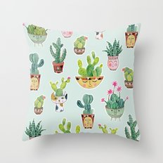 Cactus Pot Personalities Throw Pillow