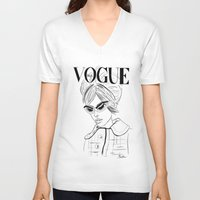 vogue V-neck T-shirts featuring Vogue Italia by Bella Harris