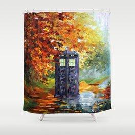 Starry Autumn Blue Phone Box Shower Curtain