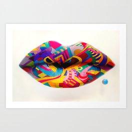 Rainbow lips Art Print