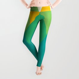 Modern Abstract Fresh Geometric Mountain Landscape with Rising Sun in Yellow, Green and Blue Colors, Retro Mountains Print Leggings