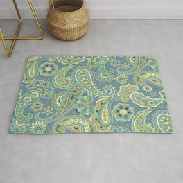 Blue and Gold Paisley Rug