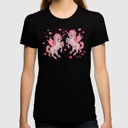Pink Unicorn Pegasus on Black T-shirt