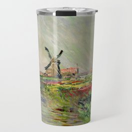 "Claude Monet ""Tulip field in Holland (Champ de tulipes en Hollande)"" Travel Mug"