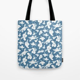 Japanese Magnolia Blue and White Tote Bag