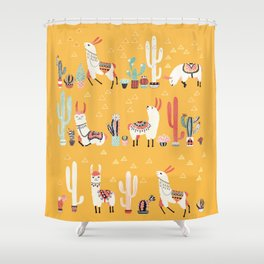 Happy llama with cactus in a pot Shower Curtain
