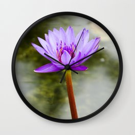 Blue Lotus Blooming in the Water Wall Clock