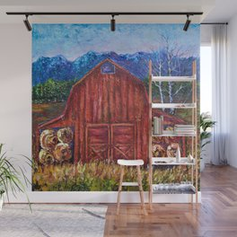 Red Barn by Lena Owens Wall Mural