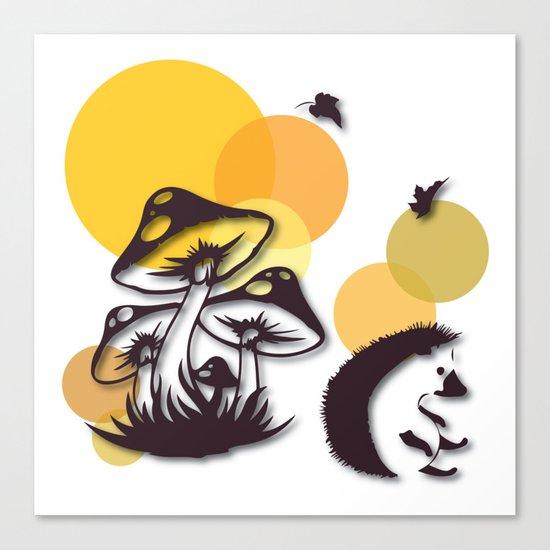 Mushroom And Hedgehog No. 3 Canvas Print