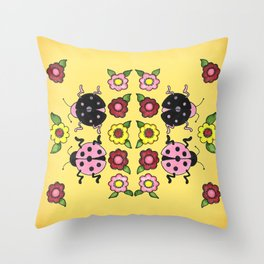 Ladybugs with Flowers Throw Pillow