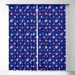 Outer Space - Planets In Dark Blue Space Blackout Curtain