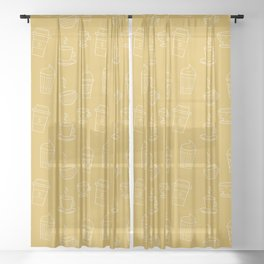 Coffee pattern Sheer Curtain