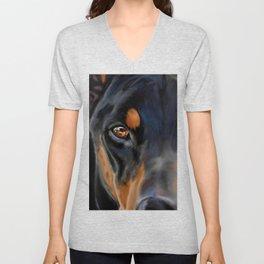 I see you-  Doberman Pincher painting Unisex V-Neck