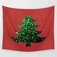 sparkles Wall Tapestries featuring Christmas tree green sparkles by PLdesign
