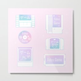 Retro Gaming (pastel) Metal Print