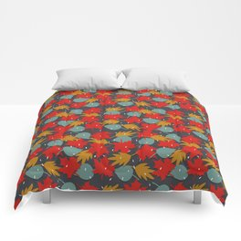 Falling red leaves Comforters