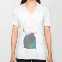 kodama V-neck T-shirts featuring Dreamland Kodama by Canis Picta