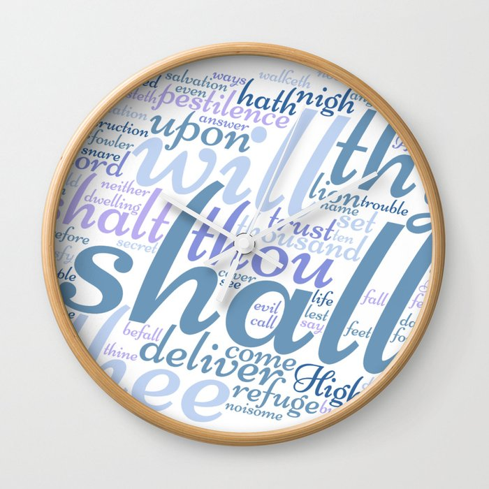 Christian Psalm 91 Word Art Wall Clock