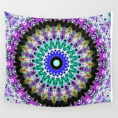 Lovely Healing Mandalas in Brilliant Colors of  violet, purple, green, blue, teal, white, yellow Wall Tapestry