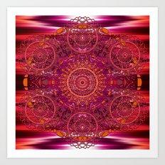 Sunset Ikat Mandala Art Print