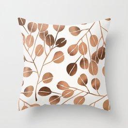 Silver Dollar Eucalyptus – Rose Gold Palette Throw Pillow