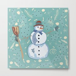 Happy Character of Snowman on a cute winter background with doodles Metal Print