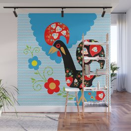 Portuguese Rooster of Luck with blue dots Wall Mural