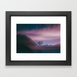 dreamy Joshua Tree at night Framed Art Print
