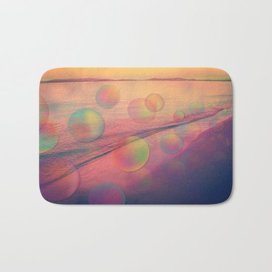 Colorful Summer Dream (California Beach in Rainbow Colors) Bath Mat