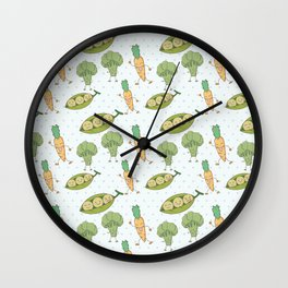 Cute funny greens orange blue polka dots vegetables Wall Clock