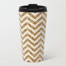 Sparkling gold glitter chevron pattern Metal Travel Mug