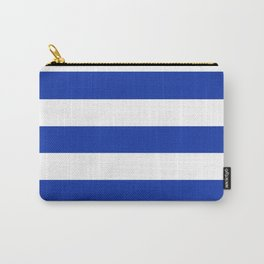 Egyptian blue - solid color - white stripes pattern Carry-All Pouch