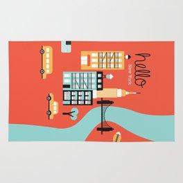 Hello New York - retro manhattan NYC icons illustration Rug