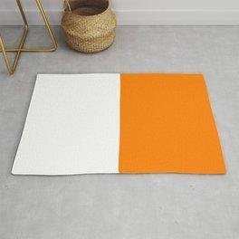 White and Orange Horizontal Halves Rug