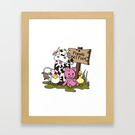 Friends Not Food Animal Rights Pig Cow present Framed Art Print
