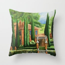 Villa of Lago d' Como Throw Pillow