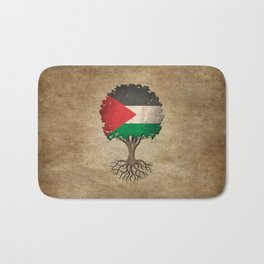 Vintage Tree of Life with Flag of Palestine Bath Mat