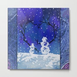 The Heart of Snowmen on a Winter Snowfall Day by annmariescreations Metal Print