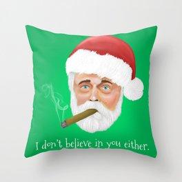Santa smoking a cigar Throw Pillow